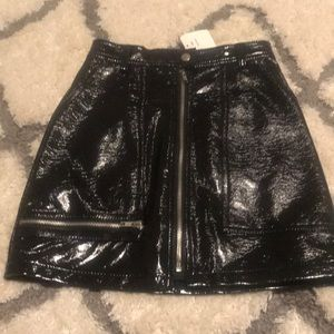 NWT Patent faux leather zip front mini skirt